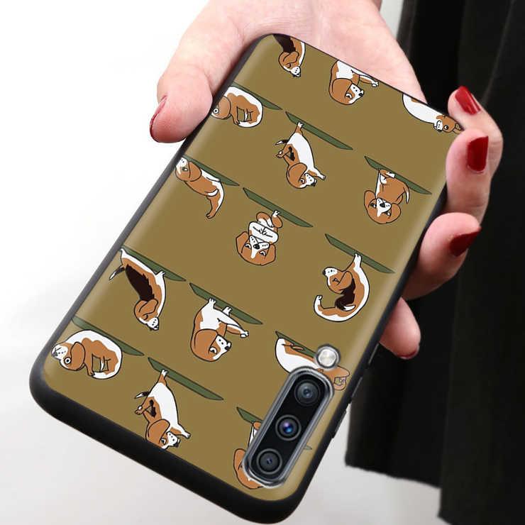 Funda blanda para teléfono samsung Galaxy A50 S A70 A80 A60 A30 A20 e A10 A9 A7 A8 Plus 2018 en negro con diseño de animales y gatos y perros para Yoga