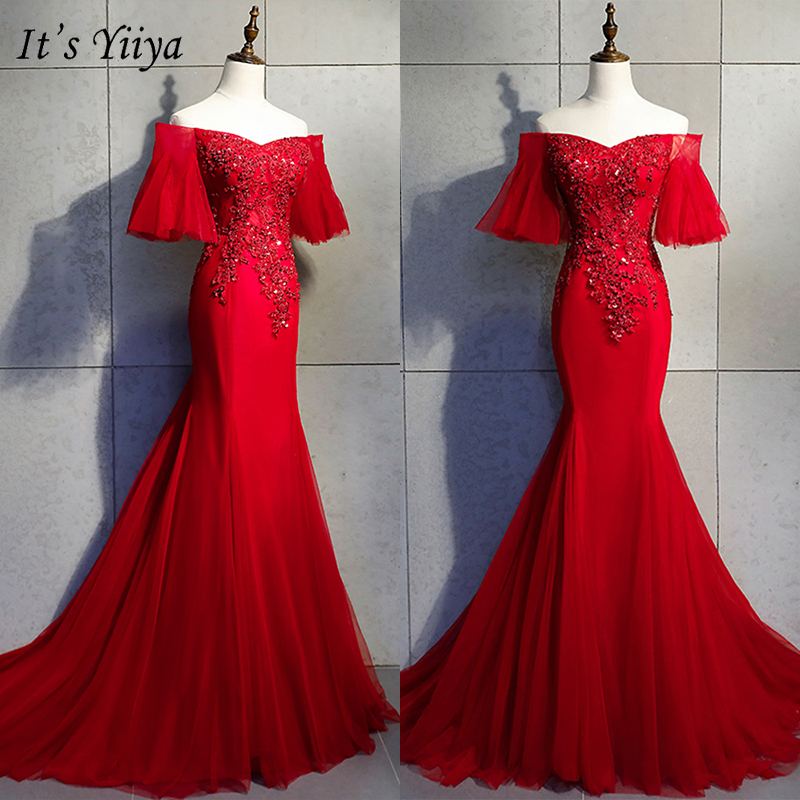 It's Yiiya Evening Dress 2019 Elegant Luxury Train Short Sleeve Trumpet Dresses Boat Neck Appliques Embroidery Formal Gown E1019