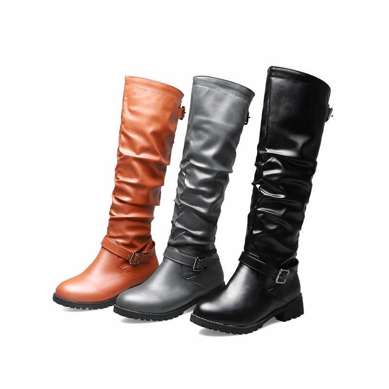 Asumer Lớn Size 34-46 Fahsion Đầu Gối Cao Giày Nữ Mũi Tròn Gót THấp Thu Đông Giày Khóa Kéo Thoải Mái nữ Giày 2020