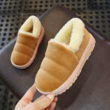 Новые зимние детские тапочки; Детская домашняя обувь; нескользящая Мягкая хлопковая обувь для маленьких девочек; меховые шлепанцы для маленьких мальчиков; домашние тапочки