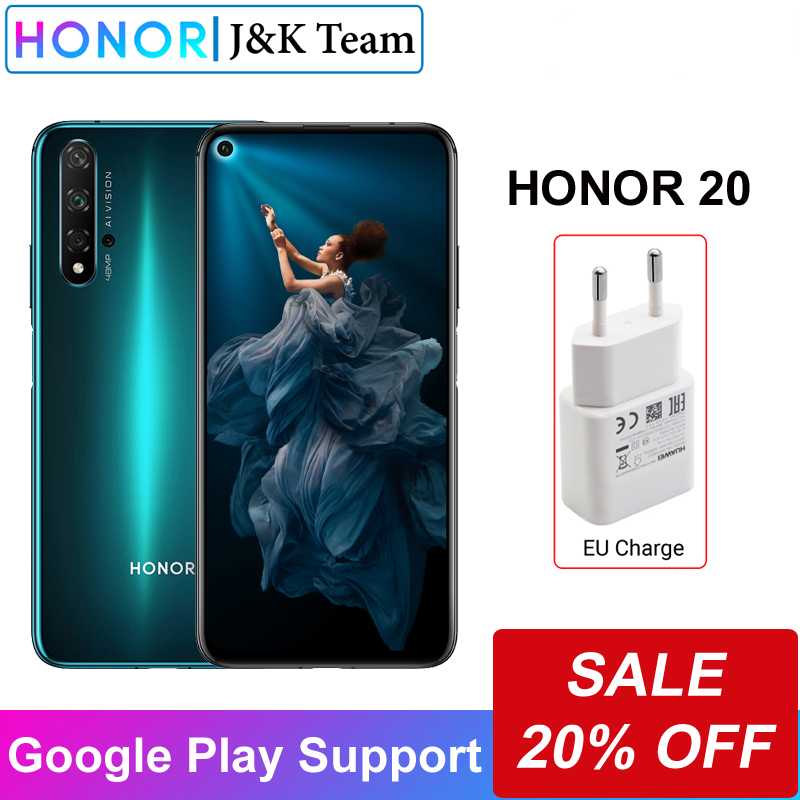 Honor 20 Smartphone 8GB Ram 256GB Rom Cell Phone Honor Mobile Phone 48MP Four Lens Camera 6.26 Inch 3750mah Super Charge