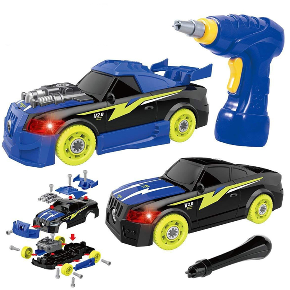 Children Diy Racing Toy Educational Learning Electric Drill Disassembly Toy Car Disassembly Hands-On Screw Car Puzz For Kids