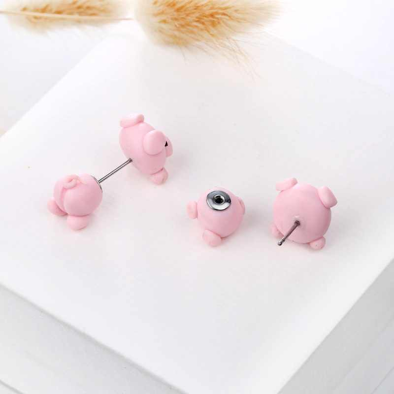 Brand Designer Pink Pig Cute Stud Earring Fashion Lovely Three-dimensional Earrings For Women