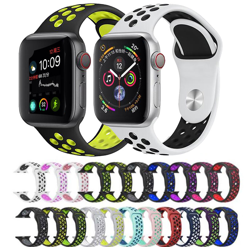 For Apple Watch Series 5 4 3 2 Silicone Strap Band Bracelet 38mm 40mm 42mm 44mm Strap Rubber Iwatch 4 3 2 Band Wristband