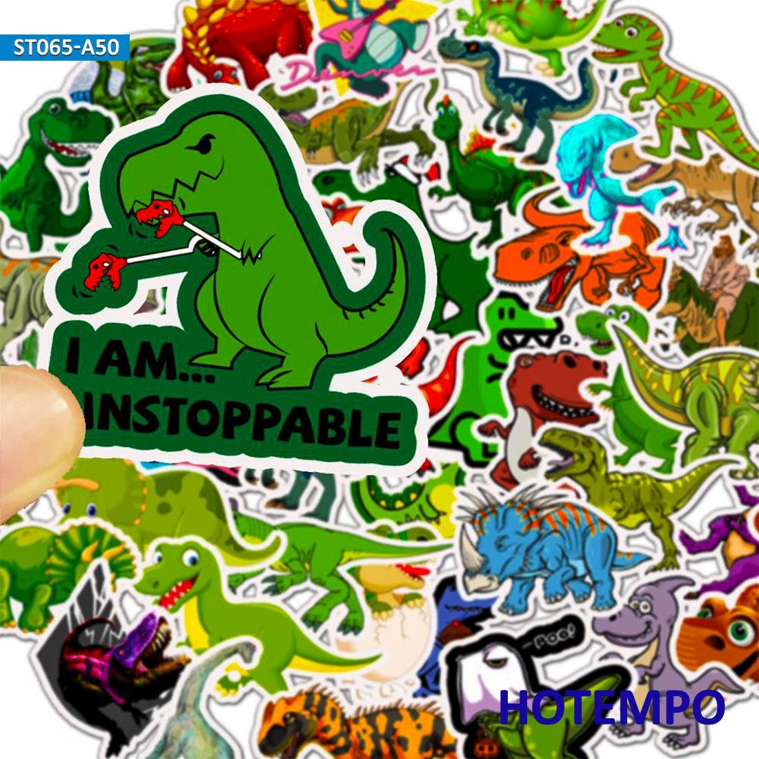 50pcs Waterproof Cartoon Dinosaur Sticker for Boy Children to DIY Gift Scrapbook Motorcycle Desk Stickers in Stickers from Toys Hobbies