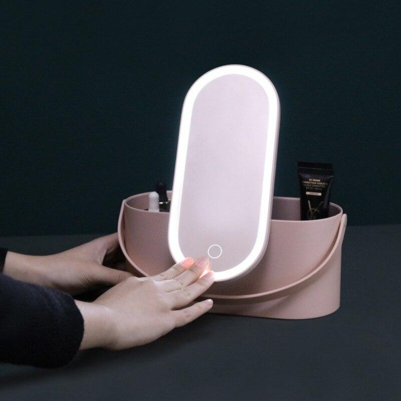 2 en 1 voyage Portable maquillage boîte de rangement avec des lumières de LED et ovale forme miroir extérieur dames outils de maquillage