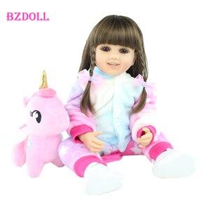 55 см полностью силиконовая кукла для новорожденных, кукла для девочек Boneca, виниловая кукла для новорожденных принцесс, для малышей, платье для малышей, подарок на день рождения