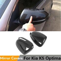 Osłony lusterek bocznych z włókna węglowego boczne skrzydła czapki naklejki samochodowe dla Kia Optima K5 2011 - 2015 dodaj styl