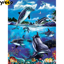 Full Square/Round drill diamond Painting Dolphin Fantasy 5D DIY diamond embroidery mosaic Decoration painting AX0110 full square round drill diamond painting blue parrots 5d diy diamond embroidery mosaic decoration painting ax0110