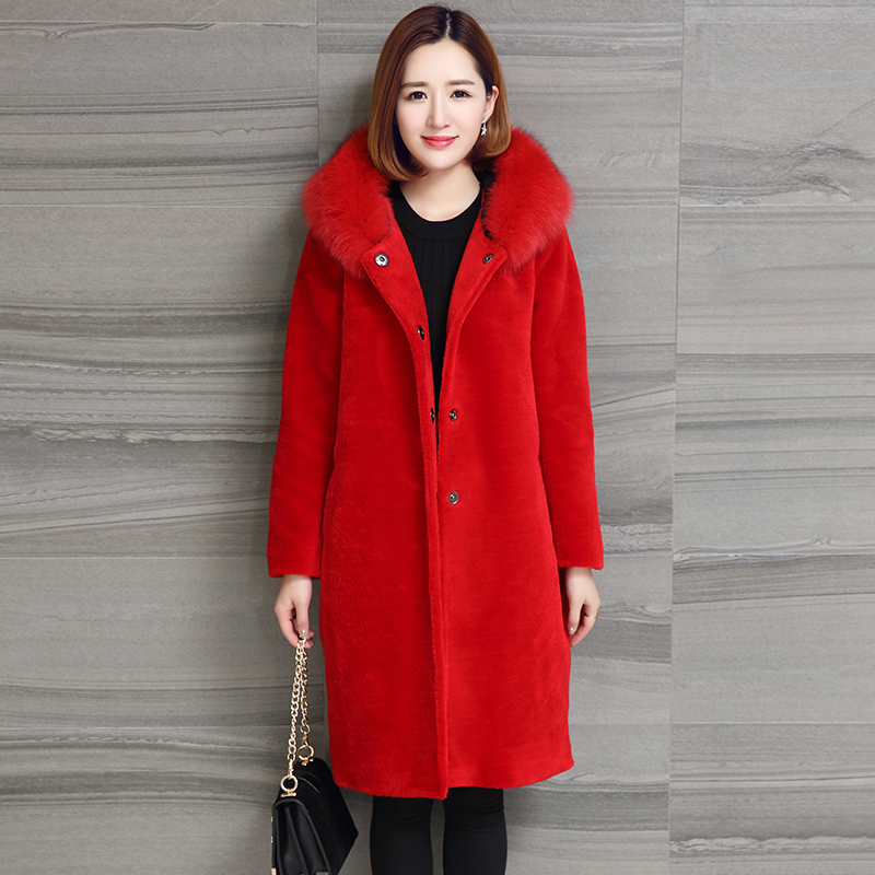 Real Women 2020 Sheep Shearing Fur Coat Fox Fur Collar Hooded Coats Medium-Long Winter Jacket Plus Size S-5XL NY701 S