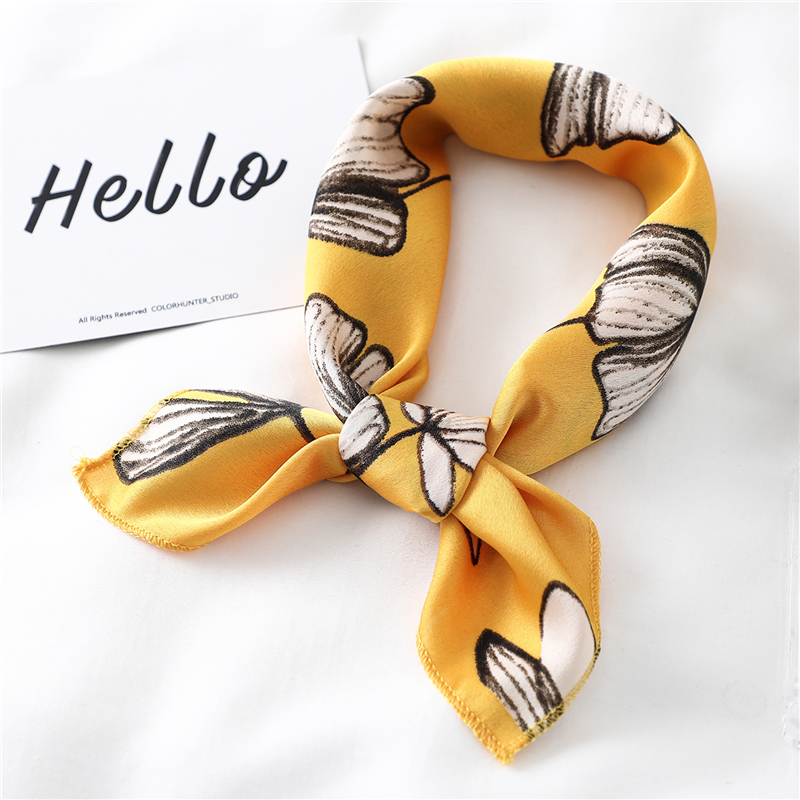 Women Summer Silk Hair Scarf Neck Warps 50cm Square Scarves Print Foulard Female Headband Kerchief Bandana Tie 2020