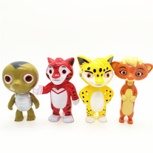 4pcs/set Russian Anime Leo & Tig Juguetes PVC Action Figures Toy Tiger Leopard Brothers Model Doll with Light Music