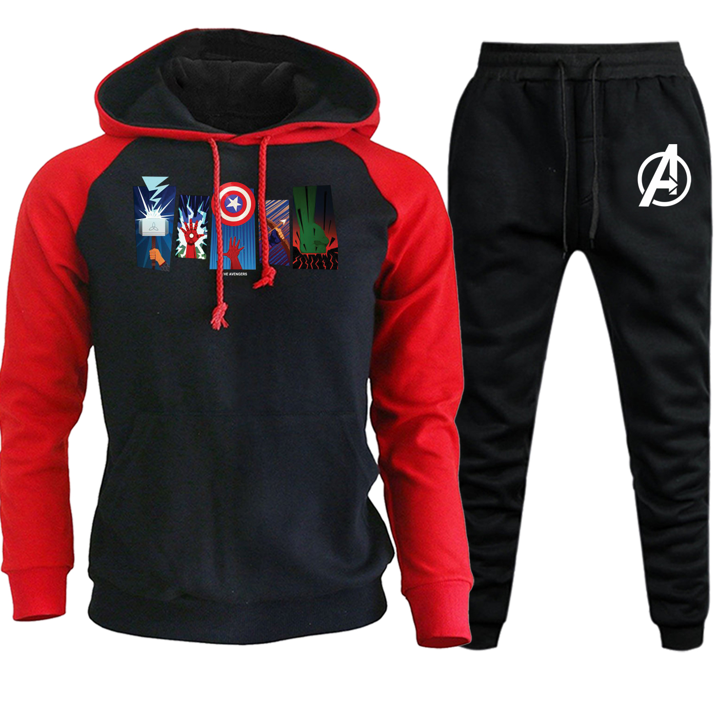 Autumn Winter 2019 The Avengers Hero Arms Hooded Mens Raglan Streetwear Suit Casual Pullover Fleece Hoodies+Pants 2 Piece Set
