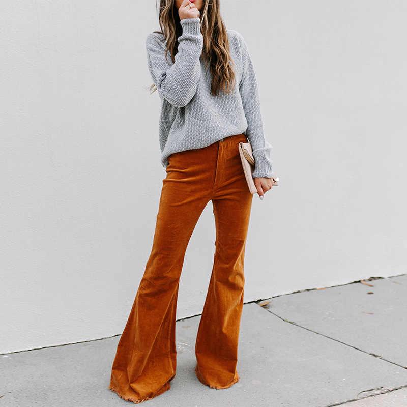 Calças de veludo feminino cintura alta alargamento trouses sólida moda feminina bottoms 2020 primavera outono moda casual roupas das senhoras