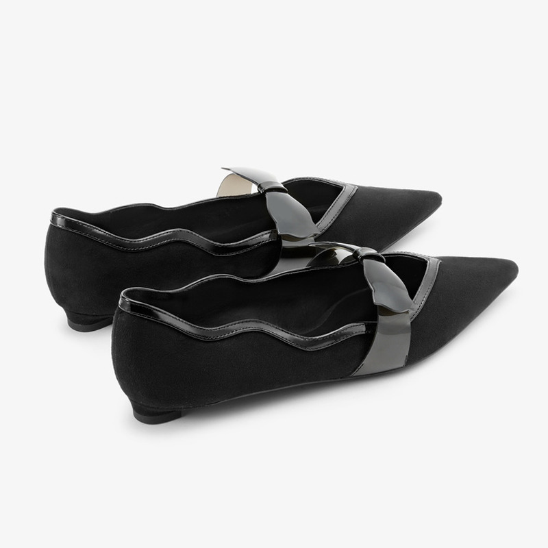 Small CK Shoes Women Flat 2019 Autumn New Products CK 1-60880538 Bow Detail Pointed Mary Jane Single Shoes Women's
