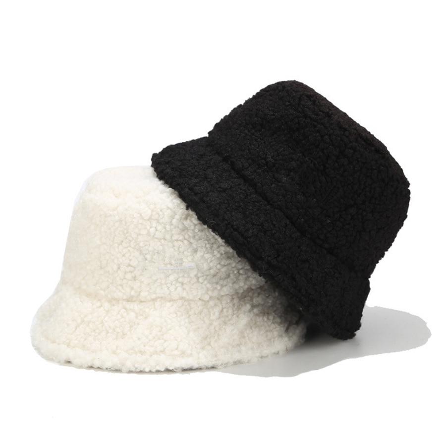 Brand New Faux Fur Winter Panama Hats Women Outdoor Sunscreen Bucket Hat Female Fashion Letter Embroidery Basin Cap Sun Caps