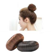 1 Pc New Populares DIY Hair Styling Donut Scrunchie Cabelo Natural Extensions Peruca Falsa Franja Feminino(China)