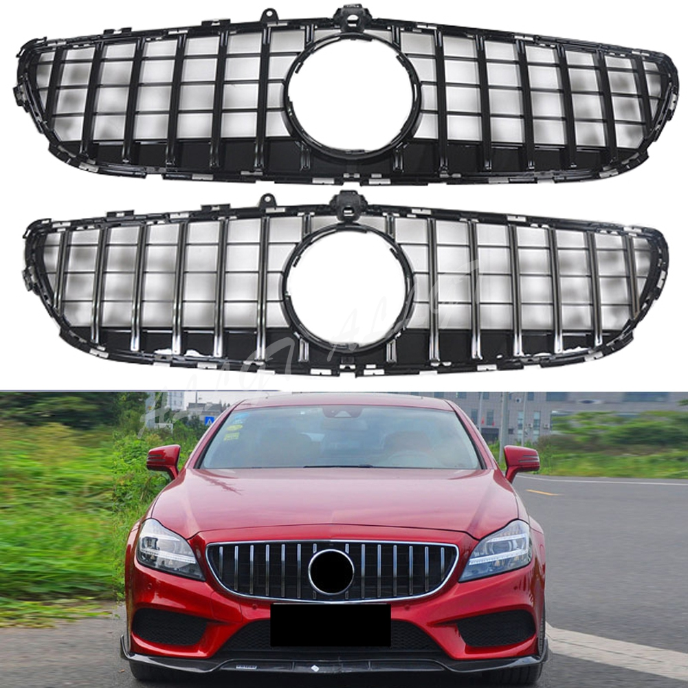 Front Racing Billet Bumper Grille Upper <font><b>Grill</b></font> Cover For Mercedes-Benz <font><b>W218</b></font> CLS-Class 2015 2016 2017 GTR Black SIlver image