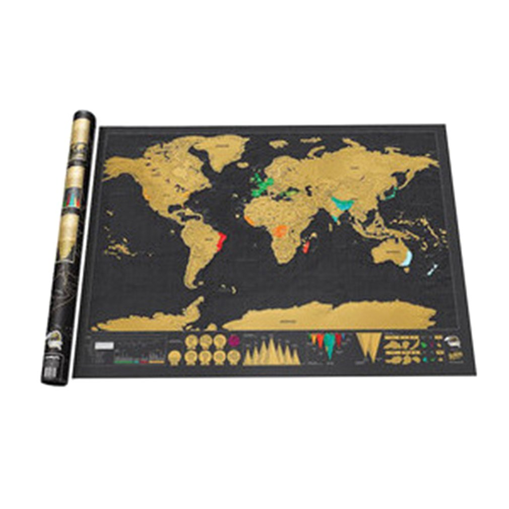 Scratch Map World Map Semi-manual Hanging Gilt Sheet Fashion Creative Complex Geographical Detail Black Background