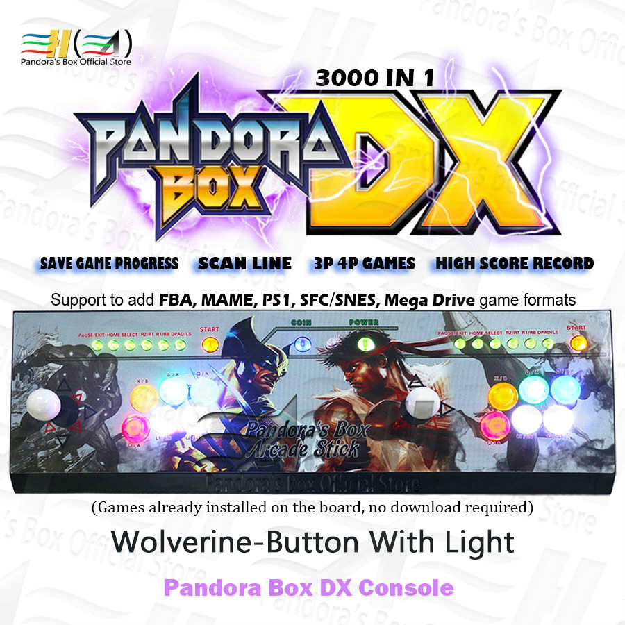 2020 Pandora Box DX Arcade Game 3000 In 1 Have 3d Game Can 3P 4P Save Game Progress Can Add 5000 Games Fba Mame Ps1 SFC/SNES MD