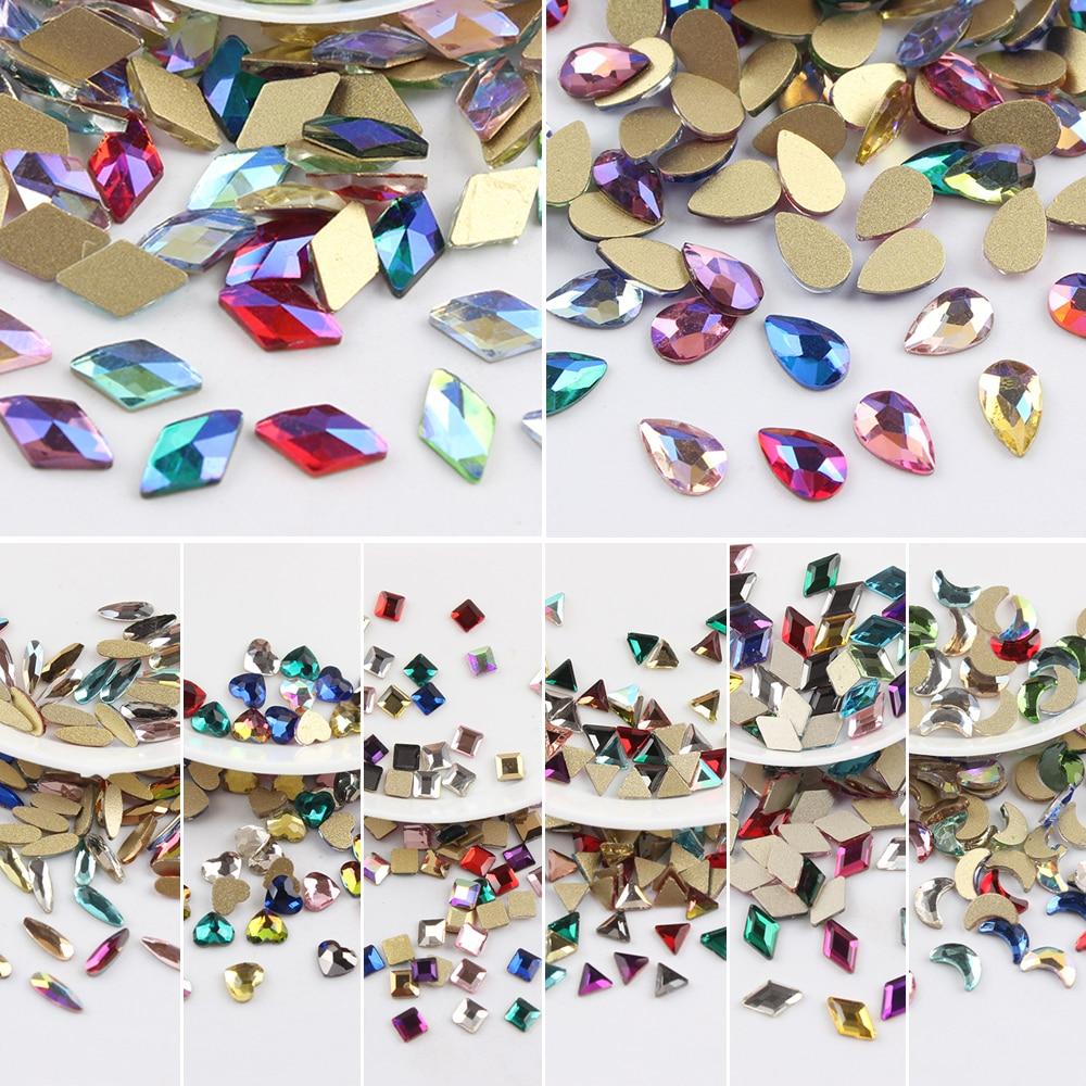 Все смешанные цвета, 30 шт, стразы для дизайна ногтей, сделай сам, без горячей фиксации, стеклянные камни для ногтей, драгоценные камни для 3D украшения для ногтей
