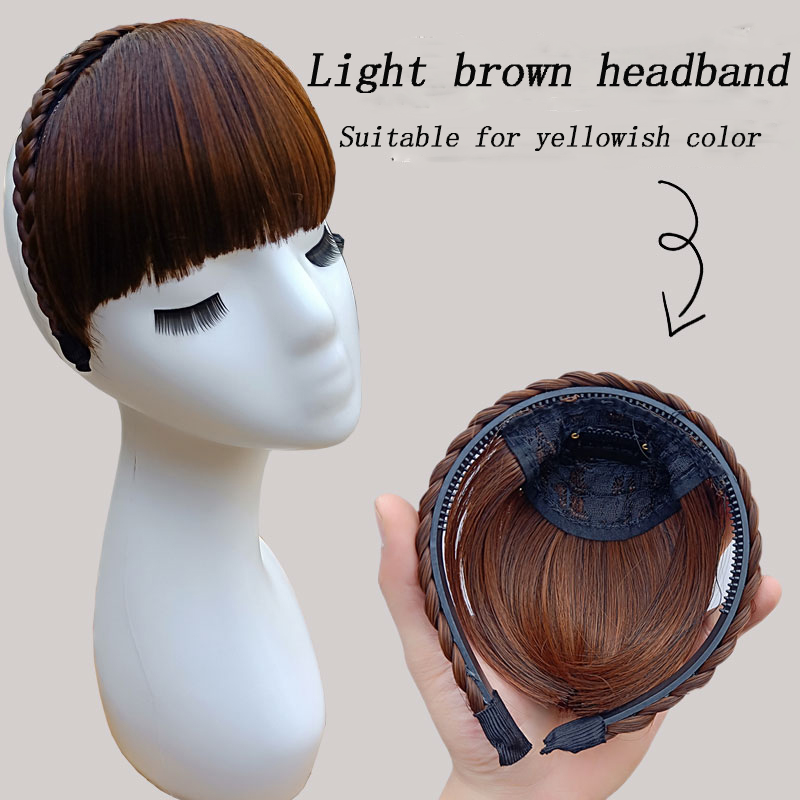 Short Bangs Braid Blunt Natural Hairpieces Heat Resistant Synthetic Women Hair Natural Fake Hair Headband