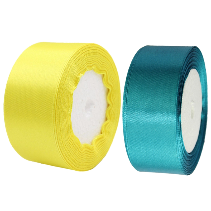 2 Roll 40mm 22 Meters Silk Satin Ribbon For Wedding Party, 1 Roll Lake Blue & 1 Roll Yellow
