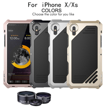 цены 4 in 1 Phone Lens Waterproof Heavy Duty Phone Case Cover Protector For iPhone X XS Fisheye Marco Wide Phone Camera telescop Lens