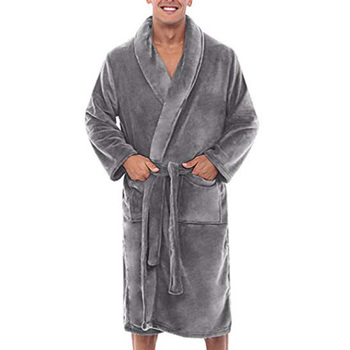 New Fashion Mens Loose Winter Warm Plush Shawl Bathrobe Home Shower Clothes Long Sleepwear Indoor Male Coat
