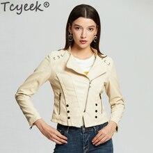 Tcyeek мода байкер мото Осень Зима Женское кожаное пальто женское кожаная куртка с заклепками женская верхняя одежда женская куртка 6603