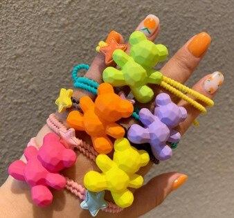 Faixas de Cabelo dos Desenhos Anéis de Cabelo Lote Faça Você Mesmo Simples Colore Doces Matagal Acrílico Animados Ursos Pequenos Styling Ferramentas Acessórios Ha634 100 Pçs –