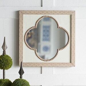 Зеркало для макияжа в форме цветка в стиле ретро, деревянное зеркало для спальни, подвесное настенное зеркало для ванной, аксессуары для укр...