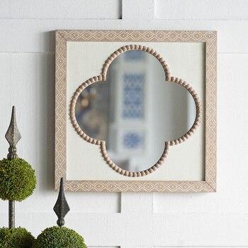 Зеркало для макияжа в форме цветка в стиле ретро, деревянное зеркало для спальни, подвесное настенное зеркало для ванной, аксессуары для укр