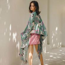 Europa styl japoński Kimono nadruk żurawia moda ochrona przed słońcem kardigan nieregularna koszula dzikie kobiety bluzki Trend topy ZLL4630 tanie tanio tvvovvin Poliester Szyfonowa Plac collar NONE Drukuj Dziewięć dzielnica Plaża style