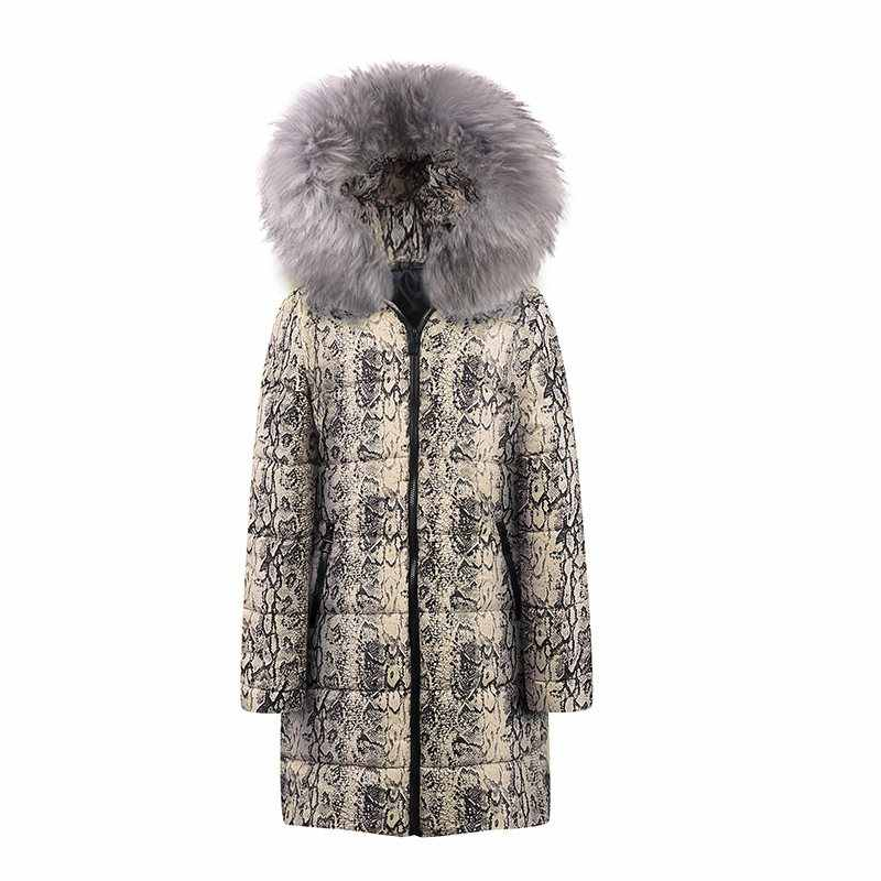 Woman Jacket Winter Leopard Snake Pattern Coats Plus Size 2019 Casual Parkas Women Jackets Warm Long Outwear Coat Parka Female