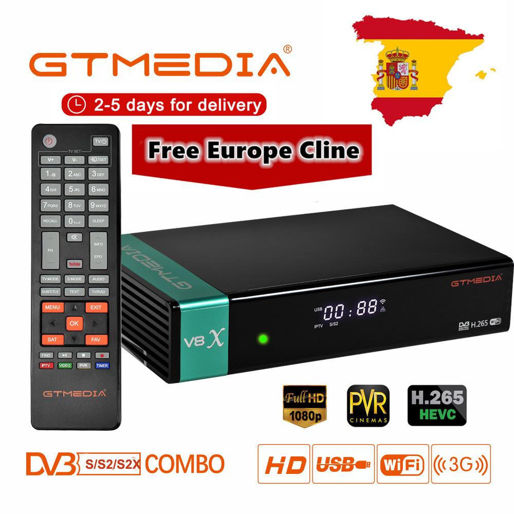 New GTmedia V8X Satellite TV Receiver Freesat V8 Super Updated GTmedia V8 Nova With Europe Cline For 3 Years Spain Poland