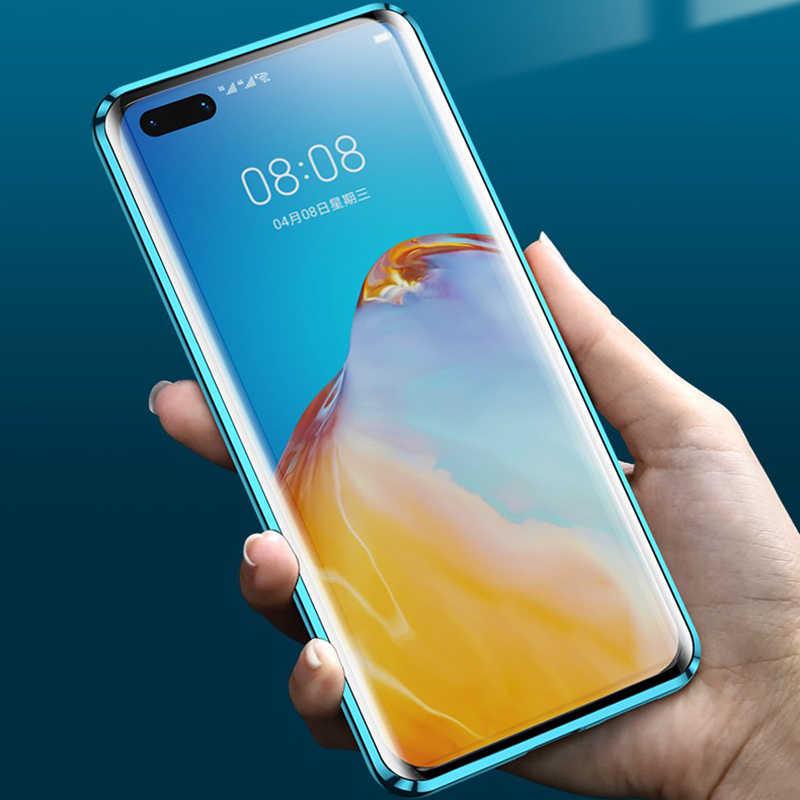 360 Magnetic Logam Case untuk Huawei Mate 30 20 P40 30 20 Pro Lite Dua Sisi Kaca untuk Kehormatan 10 20 30 9X Pro 8X Nova 7 5 6 Cover