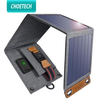 CHOETECH słoneczna składana ładowarka 14W urządzenia wyjściowe USB przenośne wodoodporne panele słoneczne do ipada iPhone X XS samsung smartfony tanie i dobre opinie Panel słoneczny 66*14 8*3 1CM SC004 Monokryształów krzemu SunPower Panel Hiking Camping Travel etc 22-25 Portable Solar Panel Phone Charger