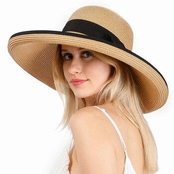 HT3085 Beach Hat Big Large Wide Brim Ladies Cap 2020 New Fashion Straw Elegant Black Bowknot Women Summer Sun