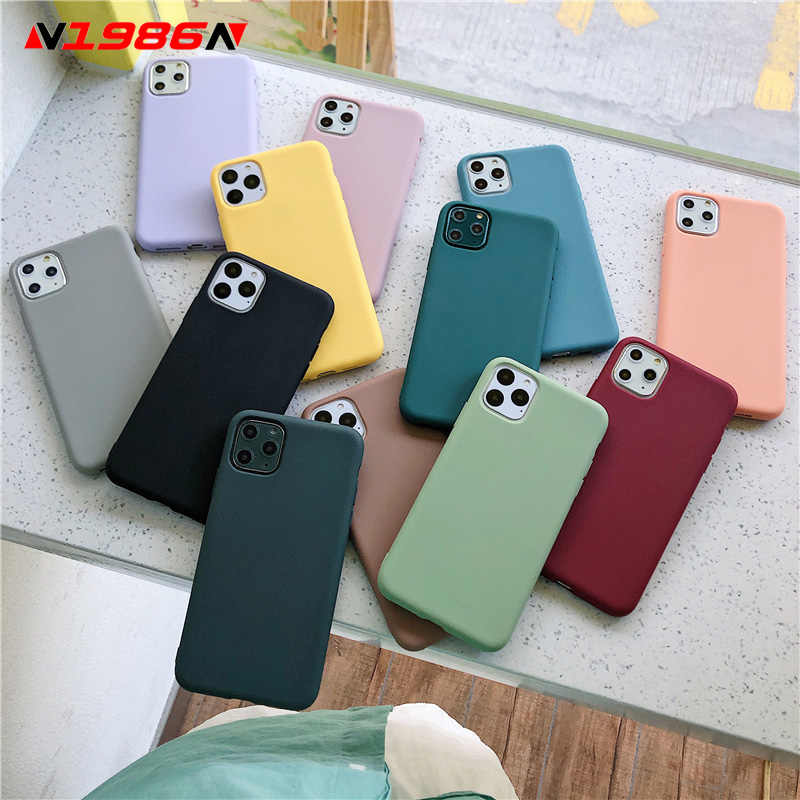 N1986N Color caramelo caso para iPhone 11 Pro X XR XS Max 6s 6 7 8 Plus Simple de moda Color sólido de silicona suave para iPhone SE 2020