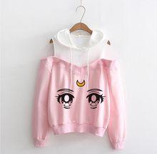 Sudadera con capucha de Sailor Moon para mujer, ropa Kawaii de talla grande con hombros descubiertos, estilo Harajuku, ropa de calle para adolescentes
