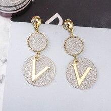 geometric Ring letter earrings  Korean Personality long pendant simple atmosphere trendy