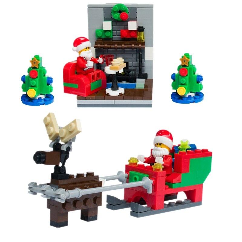 Single Sale Christmas Santa Claus Figure Elk And Sled Xmas Model Building Blocks Set Model Kits Toys Gift For Children Legoing