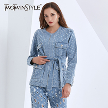 Coats Denim Jacket Lace-Up Twotwinstyle Patchwork Long-Sleeve Women O-Neck for High-Waist