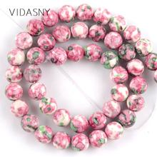 Natural Rose Red Green Rain Flower Stone Round Beads For Jewelry Making 4 6 8 10 12mm Spacer Diy Bracelet Necklace 15