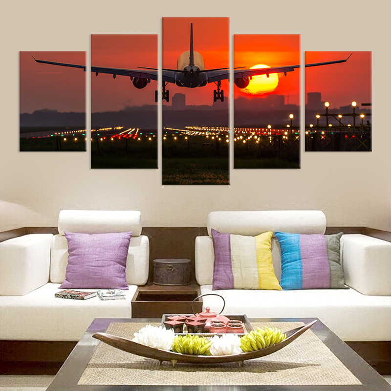 Embelish 5 Pieces Red Sunset Airplane HD Canvas Painting Wall Art Aircraft Posters Home Decor Pictures For Living Room No Frame image