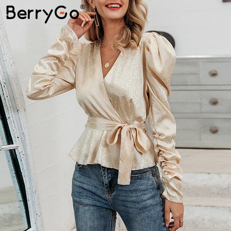 BerryGo Autumn Winter Puff Sleeve Sash Belt Female Blouses Shirts Sexy V-neck Printed Women Blouse Elegant Party Club Lady Top