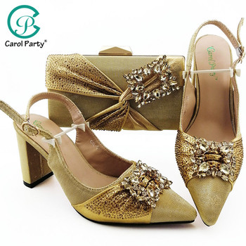 Gold Color Hot Selling Shoes and Bags To Match Shoes with Bag Set Decorated with Rhinestone Matching Italian Shoe and Bag Set