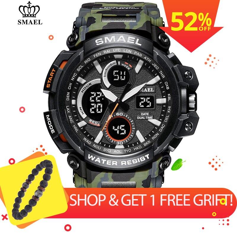 SMAEL Camouflage Military Watch Men Waterproof Dual Time Display Mens Sport Wristwatch Digital Analog Quartz Watches Male 1708