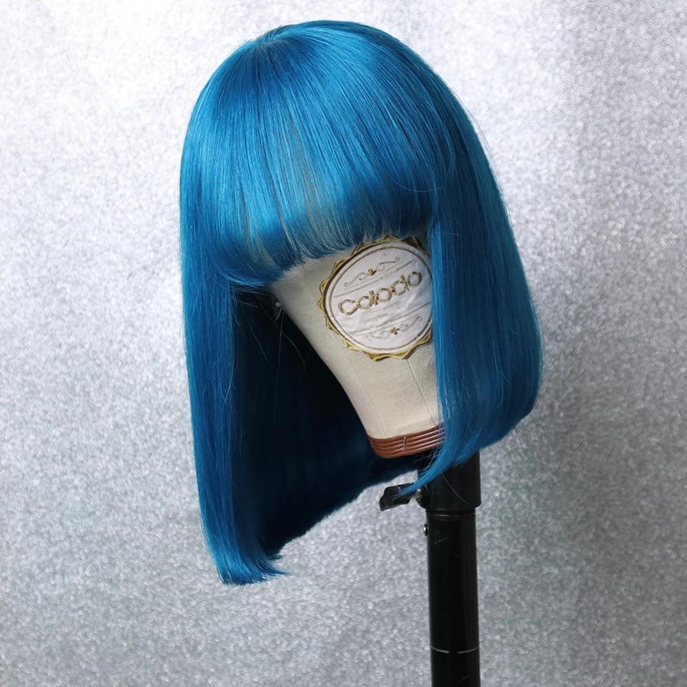 Sapphrieブラジルストレートヘアピンクボブ人毛ウィッグ 613 ブロンド青赤緑ショート黒人女性のremy毛